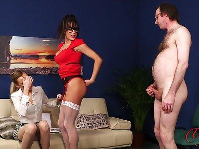 Sexy babes Klara Belle and Kourtney Dice tease a naked tramp