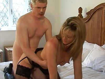 Dispirited British wife Alex in black stockings gets fucked on the wainscot