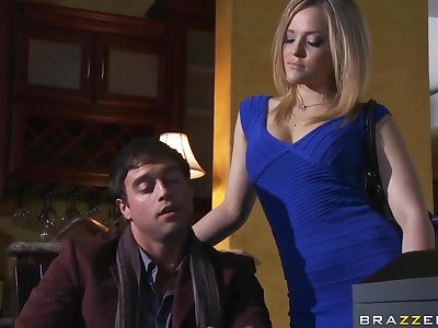 Alexis Texas gives blowjob to her husband's rich brother
