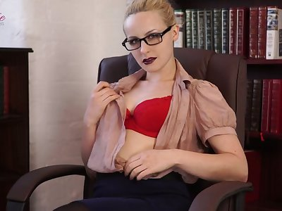 Filthy librarian Cindy takes off clothes increased by shows off stimulated pussy