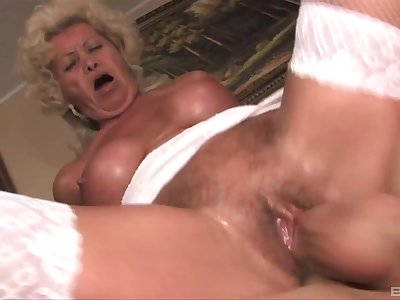 Mature Effie wears sexy sickly lingerie for fucking without mercy