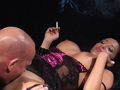 Milf smokes while taking the cock in merciless XXX
