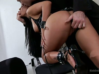 Punished and humiliated bitch with juicy boobs deserves lasting anal