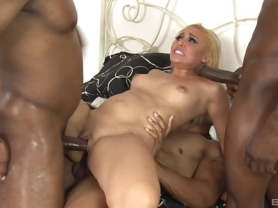 Blonde call-girl anal fucked by two deadly males with uncultivated dicks