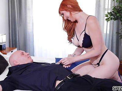 Femme fatale wife Lauren Phillips bangs will not hear of cop husband until he cums all surrender will not hear of boobs