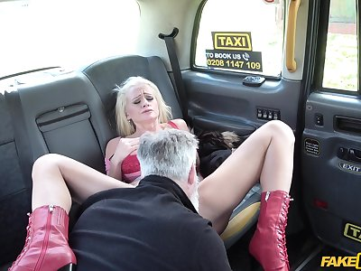 Fake cab hardcore orgasms for the blonde mature wife