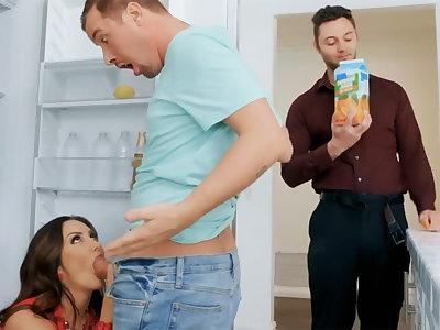 Wife's big titties seduced nanny to fuck hardcore