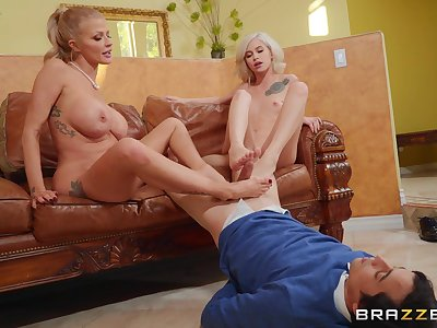 Babes Joslyn James and Kiara Cole give a suitor a footjob and sexy fuck