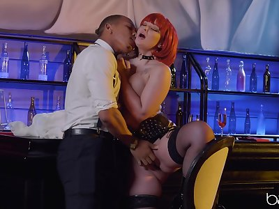 Ravening redhead Gia Paige fucked rather hard wide the club