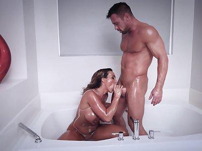 Muscular man shows this busty MILF proper orgasms