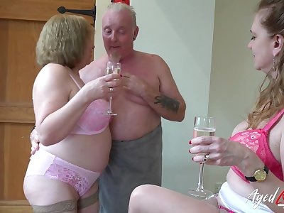 AgedLovE Two Matures and Handy Alms-man in Threesome