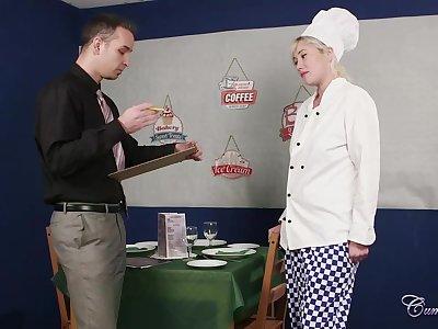 After a great blowjob, a hot blonde maid, Misha Mayfair got a nice facial cumshot