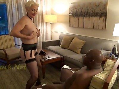 Horny GILF seduces beamy black challenge