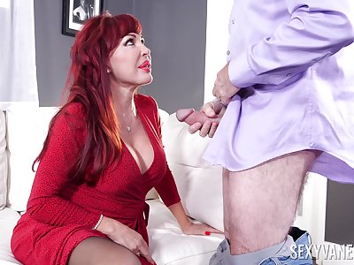 Sexy redhead BBW Sexy Vanessa has addiction nearby riding strong cock