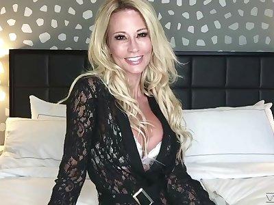 Webcam milf is playing take big fake boobs and favorite dildo fellow