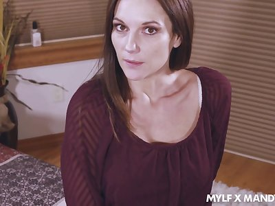 Flirty stepmom Mandy Flores takes cumshots on say no to white undies