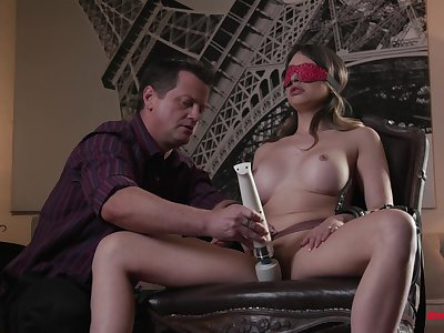 Dominate spliced blind folded when getting the dicks in both holes
