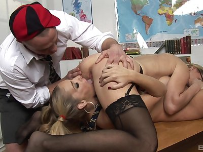 Bitches share dick in a catch hired hall be useful to a real fetish play