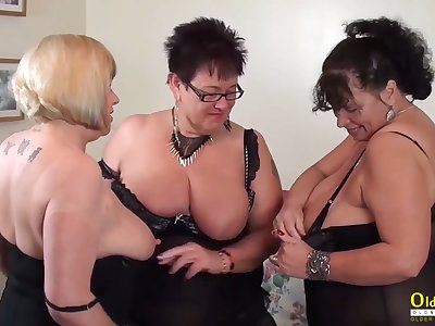Chunky natural tits of mature women in the matter of triune lesbian action including pussy addiction