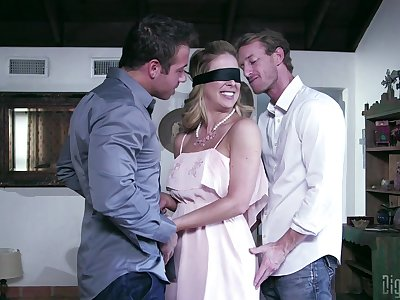 Blindfolded wife Cherie DeVille sucks and rides another bloke
