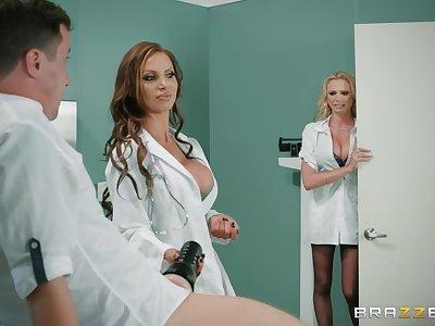 Premium nurses are enjoying a pretty big dick in a hot triplet