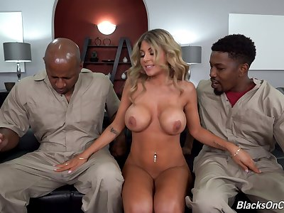 Interracial double astuteness threesome with gorgeous Kayla Kayden