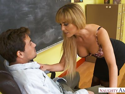 Sexy busty college tutor in nylon stockings Cherie Deville is fucked on the table