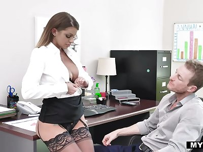 Sexy busty secretary in nylon tights Brooklyn Chase dreams of riding strong cock