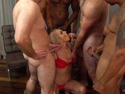Blondie Molly Mae gets messy facial inhibit hardcore blowbang scene