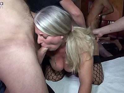 Extreme bareback three-hole gangbang for 2 cum sluts! Part 1