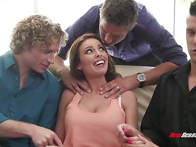 Hot MILF with an unquenchable thirst for jizz having some steamy gangbang