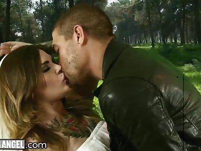 'round tattooed whore is brutally fucked mish outdoors by Xander Corvus