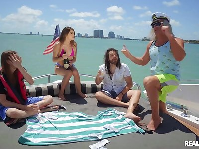 Super-best boat sex party with navigator & semen