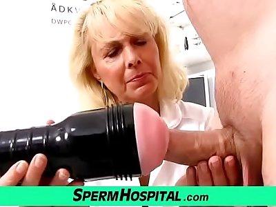 Blonde lady doctor Koko grey with young CFNM exam and handjob