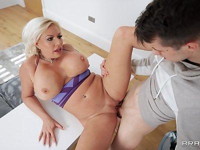 MILF with premium curves, unveil stepson accommodation billet porn on cam