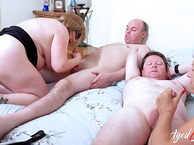 AgedLovE Duo Busty British Matures Fuck Several Dick
