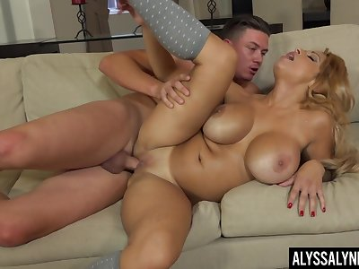 Side fucked by her hot stepson to the fullest she rubs those huge jugs