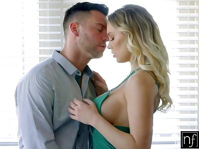 Sexy busty blonde Kenzie Taylor fucks sideways and kisses her stud
