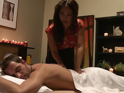 Aroused Asian combined seductive massage with out to lunch sex