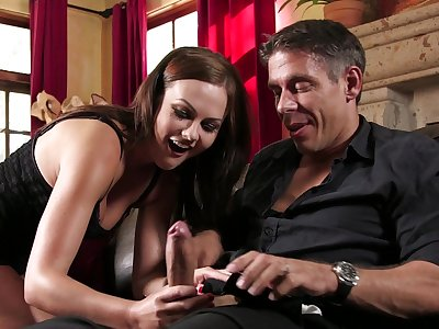 Tina Kay handles man's dick like a unconstrained goddess