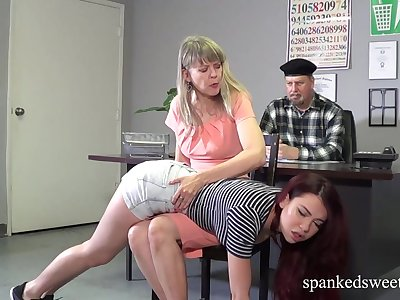 A Double Spanking for beautiful Sabina Rogue in Shorts Jeans
